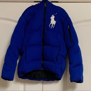 Ralph Lauren Blue Hood Goose down Coat S
